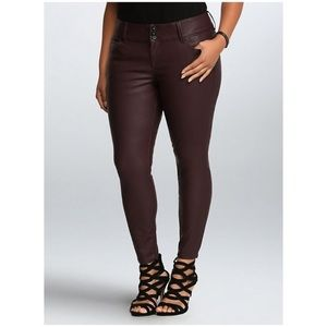 Torrid Premium faux leather skinny burgundy pants